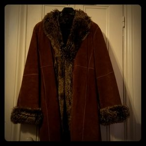 Full length suede with fur trim winter coat